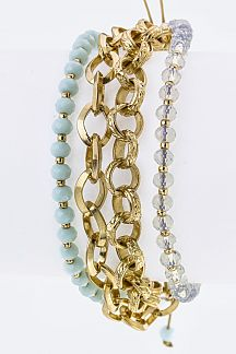 Mix Beads & Chains Layer Drawstring Bracelet