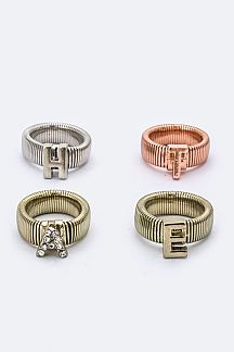 HATE Tri-Tone Stretch Ring Set