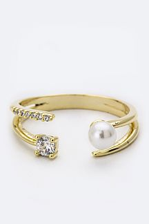 CZ & Pearl Open Ring