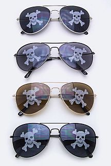 Kids & Junior Skull Tinted Aviator Sunglasses