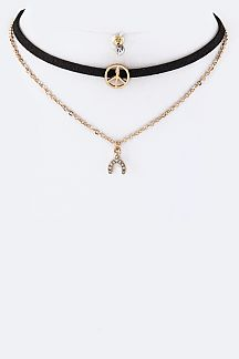 Peace & Wishbone Charms Layer Choker Set