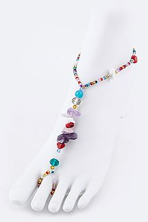 Precious Stone Nuggets & Bead Stretch Barefoot Sandal