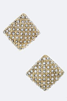 Crystal Rhombus Clip-On Earrings