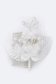 Pearl Flower & Leaf Bridal Comb
