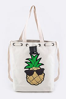 Sequins Pineapple Canvas Shoulder Tote