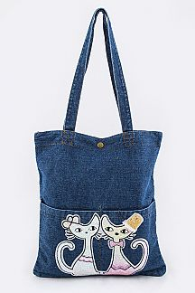 Sequins Kitties Denim Tote
