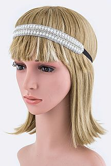 Crystals & Pearls Lurex Stretch Headband
