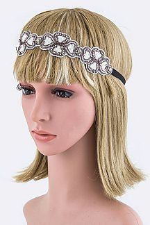 Crystal & Beads Clover Stretch Headband