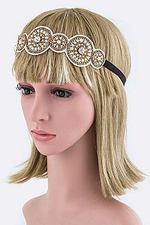 Crystal & Bead Wheels Stretch Headband