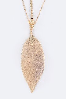 Gold Dipped Leaf Layer Necklace Set