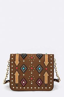 Studded Tribal Design Shoulder Bag