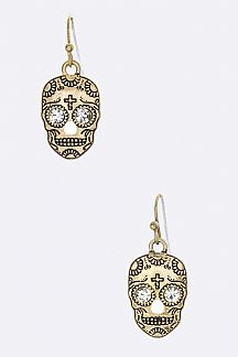 Sugar Skull Art Earrings