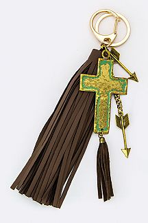 Metal Cross & Tassel Key Charm