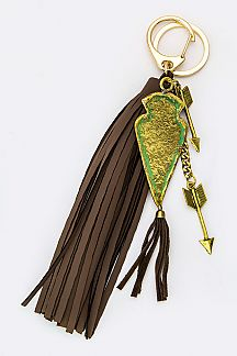 Metal Arrowhead & Tassel Key Charm