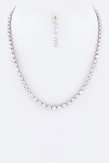 Cubic Zirconia Station Necklace Set