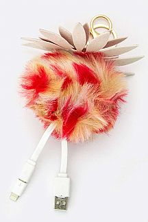 Fur Pom Flower & Swappable USB Cabel Charger