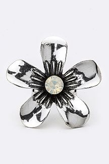 Metal Flower Adjustable Ring