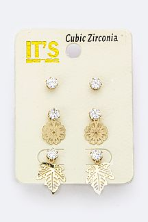 Metal Leaf CZ Studs Set