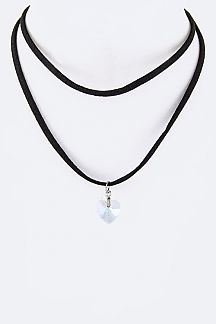 Crystal Heart Pendant Layer Choker Necklace