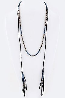 Mix Beads Tassels Wrapped Necklace