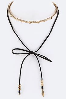 Crystal Collar & Wrapped Suede Necklace