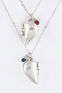 Together Heart Locket Pendants Necklaces Set