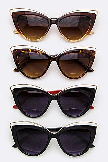 Iconic Metal Bar Cat Eye Sunglasses