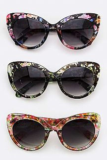 Floral Pattern Cat Eye Sunglasses