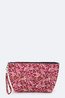 Quilted Paisley Wristlet Pouch