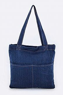 Double Pockets Denim Tote
