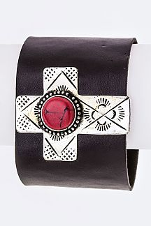 Paved Stone Cross Leather cuff