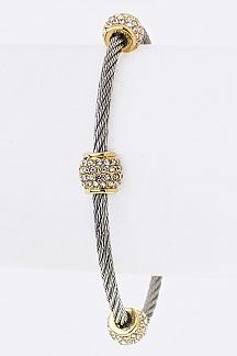 Pave Crystal Hoops Wire Bracelet