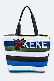 Sequins Rose Patch Fashion Tote