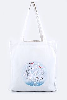 Birds & Flower Print Fashion Tote