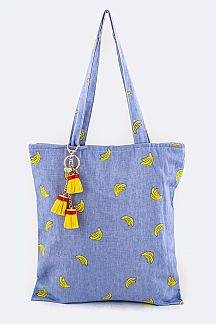 Banana Print Tassel Fashion Tote