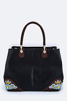 Embroidery Accent Leather Bag