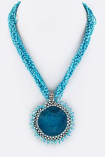 Beaded Stone Disk Pendant Layer Necklace