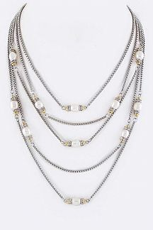 Pearl & Crystal Layers Designer Necklace