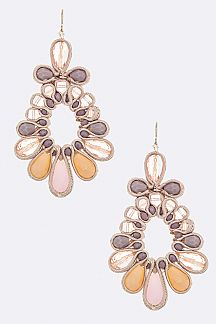 Silk Trim Laced Flower Earrings