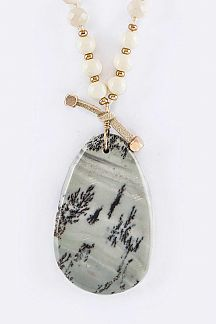 Semi Precious Teardrop Pendant Necklace Set