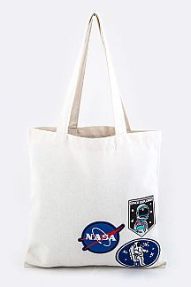 Astronaut Patches Canvas Tote