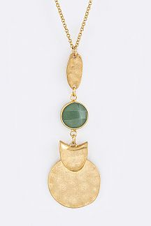 Semi Precious & Metal Disks Pendant Necklace