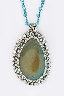 Beads Wrapped Stone Teardrop Pendant Necklace