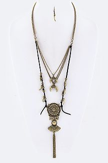 Knotted Suede Chain Tassel Tribal Statement Necklace Set