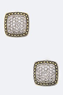 Paved CZ Square Stud Earrings