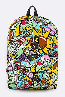 Comic Foods Print Canvas Backpack