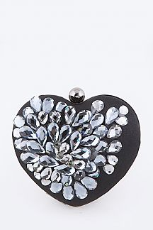 Crystal Flower Statement Satin Heart Shape Box Clutch