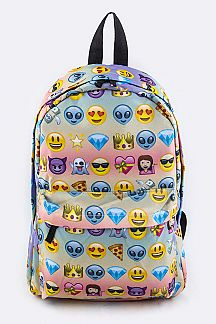 Emoji Pattern Nylon Backpack