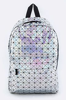 Geo Print Holographic Color Backpack
