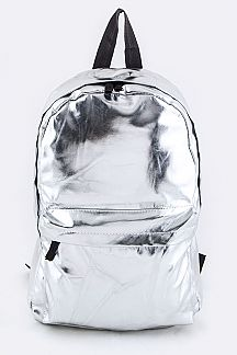 Silver Nylon Backpack